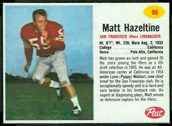 Matt Hazeltine 1962 Post Cereal football card