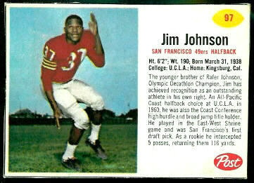 Jim Johnson 1962 Post Cereal football card