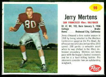 Jerry Mertens 1962 Post Cereal football card