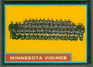 Minnesota Vikings Team 1962 Topps football card
