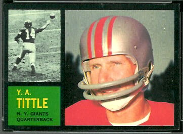 Y.A. Tittle 1962 Topps football card