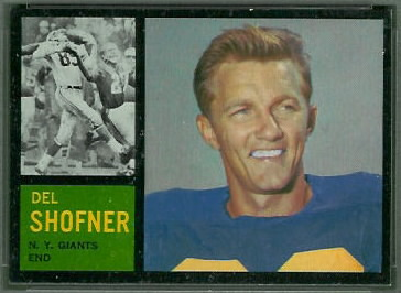 Del Shofner 1962 Topps football card