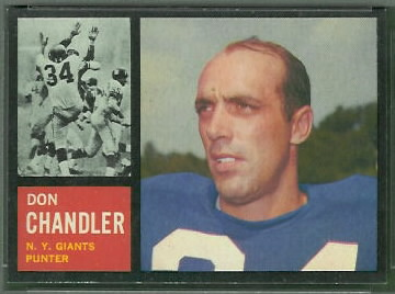 Don Chandler 1962 Topps football card