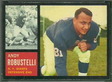 Andy Robustelli 1962 Topps football card