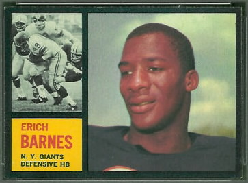 Erich Barnes 1962 Topps football card