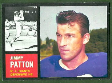 Jim Patton 1962 Topps football card