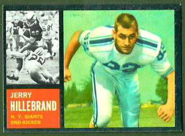 Jerry Hillebrand 1962 Topps football card
