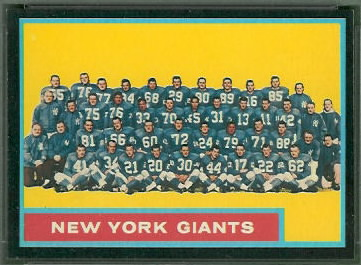 New York Giants Team 1962 Topps football card