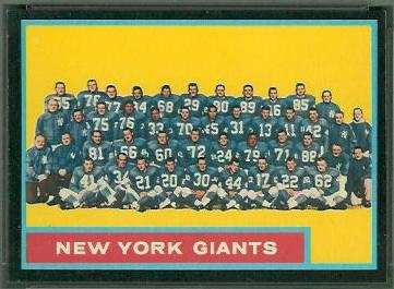 New York Giants Team 1962 Topps football card