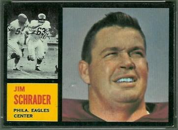 Jim Schrader 1962 Topps football card