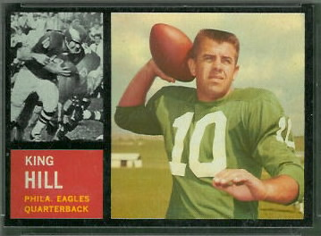 King Hill 1962 Topps football card