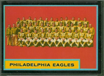 Philadelphia Eagles Team 1962 Topps football card