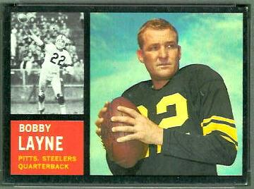 Bobby Layne 1962 Topps football card
