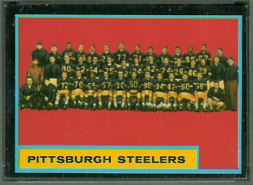 Pittsburgh Steelers Team 1962 Topps football card
