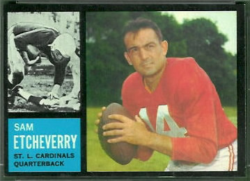 Sam Etcheverry 1962 Topps football card