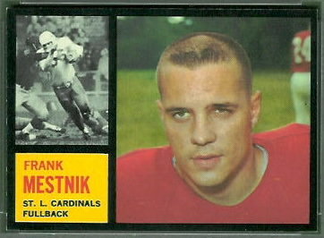 Frank Mestnik 1962 Topps football card