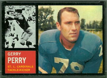 Gerry Perry 1962 Topps football card