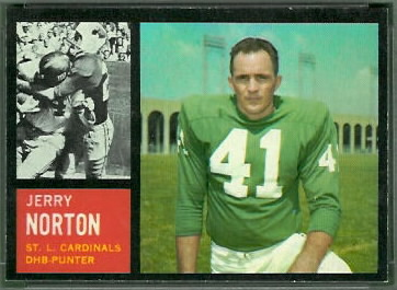 Jerry Norton 1962 Topps football card