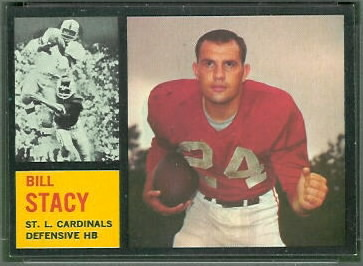 Bill Stacy 1962 Topps football card
