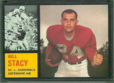 Bill Stacy 1962 Topps football card