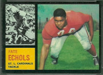 Fate Echols 1962 Topps football card