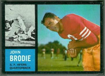 John Brodie 1962 Topps football card
