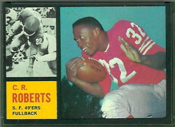 C.R. Roberts 1962 Topps football card