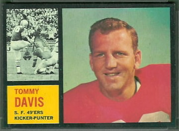 Tommy Davis 1962 Topps football card