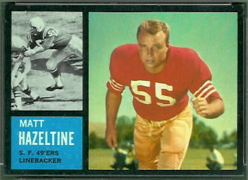 Matt Hazeltine 1962 Topps football card