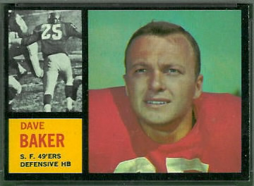 Dave Baker 1962 Topps football card