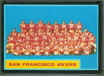 San Francisco 49ers Team 1962 Topps football card