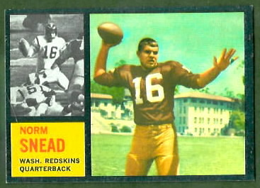 Norm Snead 1962 Topps football card