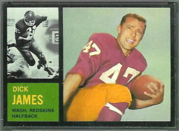 Dick James 1962 Topps football card