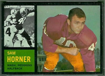 Sam Horner 1962 Topps football card