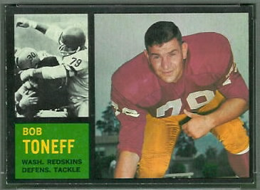 Bob Toneff 1962 Topps football card