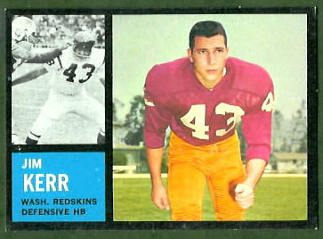 Jim Kerr 1962 Topps football card