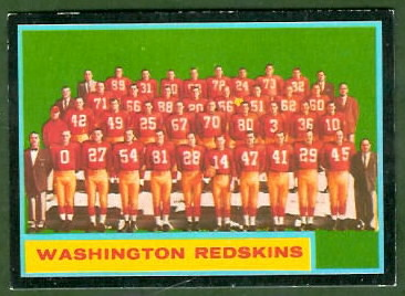 Washington Redskins Team 1962 Topps football card