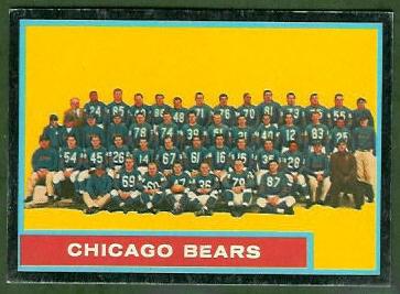 Chicago Bears Team 1962 Topps football card