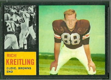 Rich Kreitling 1962 Topps football card