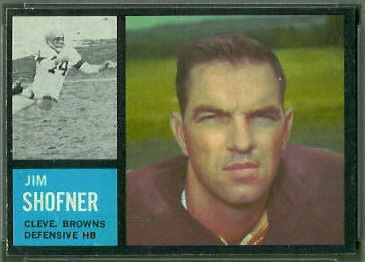 Jim Shofner 1962 Topps football card
