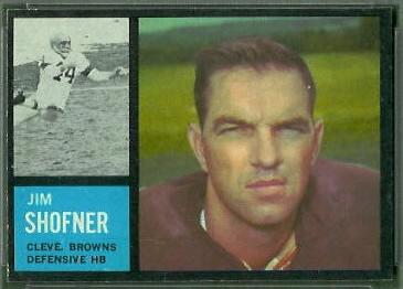Jim Shofner 1962 Topps football card