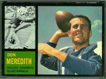 Don Meredith 1962 Topps football card