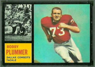Bobby Plummer 1962 Topps football card