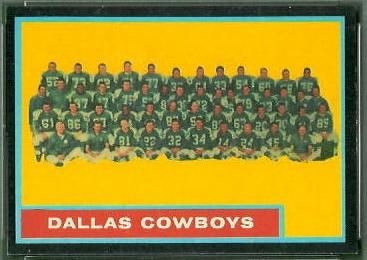 Dallas Cowboys Team 1962 Topps football card