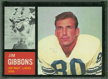 Jim Gibbons 1962 Topps football card