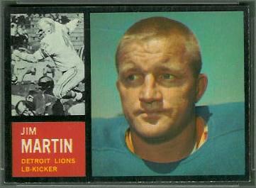 Jim Martin 1962 Topps football card