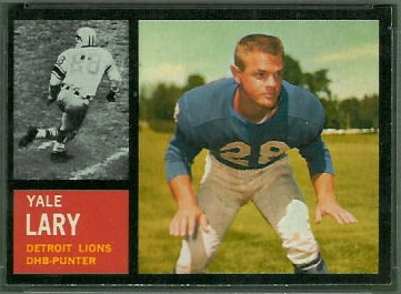 Yale Lary 1962 Topps football card