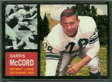 Darris McCord 1962 Topps football card
