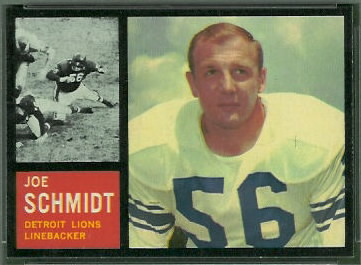 Joe Schmidt 1962 Topps football card