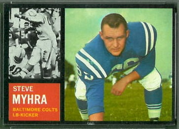 Steve Myhra 1962 Topps football card
